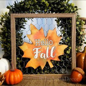 Hello Fall Wood Frame for Farmhouse Fall Decor ♡